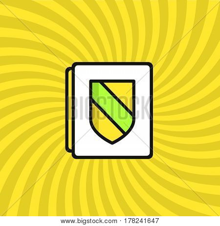 Document Security Icon, Simple Line Cartoon Vector Illustration