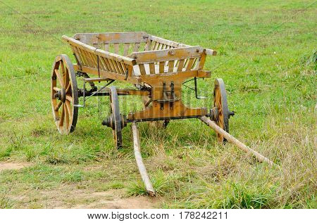 The aged horse cart costs on a green glade