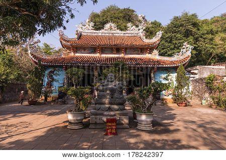 Buddhist pagoda in Huyen Khong cave on Marble Mountain at Da Nang city Vietnam. Da Nang is biggest city of Middle Vietnam.