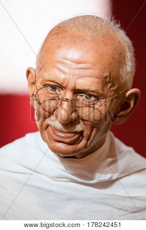Bangkok - Jan 29: A Waxwork Of Mahatma Gandhi On Display At Madame Tussauds On On January 29, 2016 I