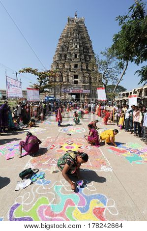 Woman During A Street Design Competition At Hampi