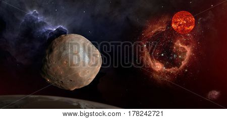 Fantasy composition of Phobos the satellite of Mars. The old Sun shines over the RCW 79 nebula in the Centaurus constellation.