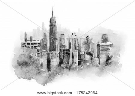 watercolor drawing cityscape big city downtown, aquarelle painting