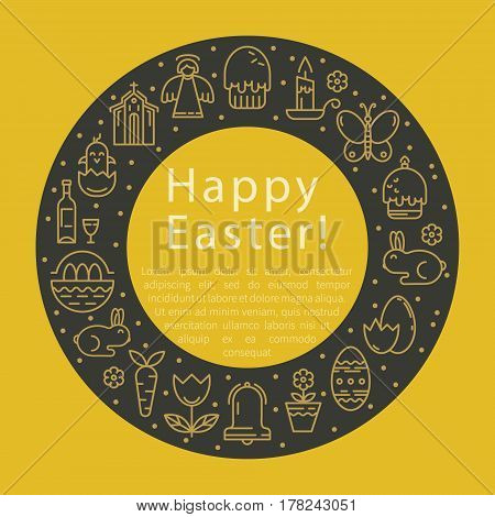 Vector linear illustration with symbols of the Easter holiday. Rabbit, Bible, Easter cake, Eggs. The elements are arranged in the form of a round frame.