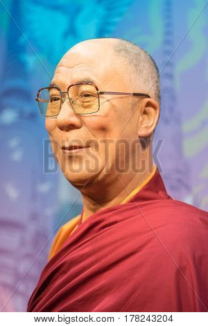 Bangkok - Jan 29: A Waxwork Of Dalai Lama On Display At Madame Tussauds On January 29, 2016 In Bangk