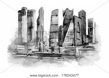 watercolor drawing of Moscow city. International Business Center aquarelle painting.