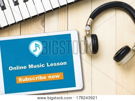 Online Music lesson banner on table with music instruments