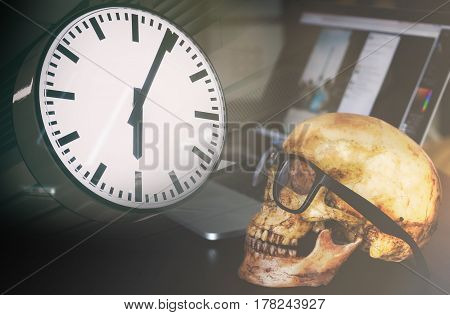Deadline clock in office concept with dead business man skull