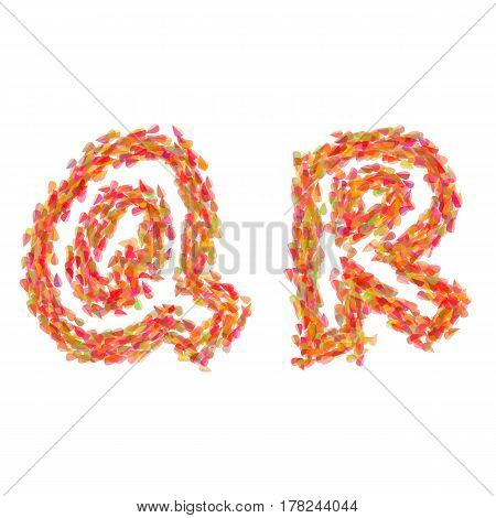 The letters Q R made of autumn leaves.