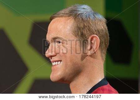 Bangkok - Jan 29: A Waxwork Of Wayne Rooney On Display At Madame Tussauds On January 29, 2016 In Ban
