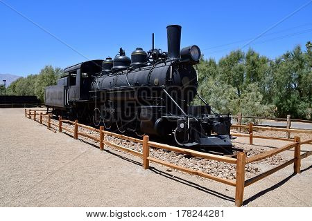 USA - july 11 2016 : old locomotive in the Furnace Creek ranch in the Death Valley National Park