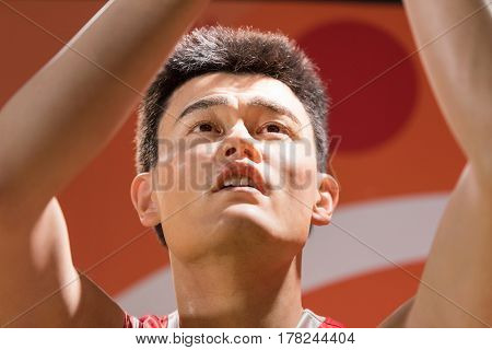 Bangkok - Jan 29: A Waxwork Of Yao Ming On Display At Madame Tussauds On January 29, 2016 In Bangkok