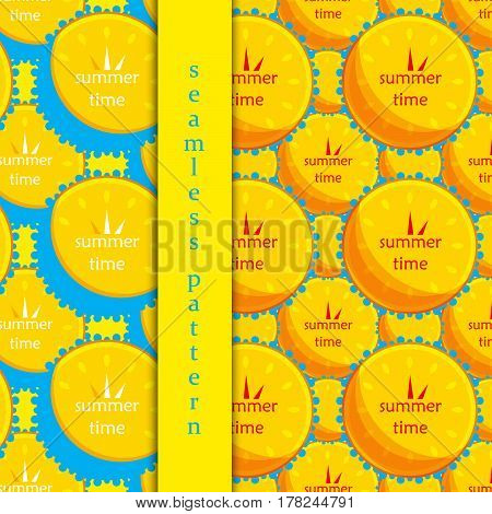 set of seamless pattern with sun and water in the form of a clock. Icon. vector