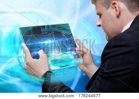 Businessbusinessman Touching Digital Touchscreen . Innovative Technologies. Business Technology Inte