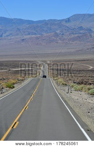USA - july 11 2016 : Death Valley National Park the picturesque road road to Bakersfield