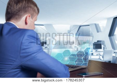 Technology Internet And Network Concept . Young Business Man Working On The Tablet Of The Future Sel