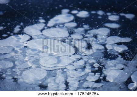 Bubbles In Ice Of Baikal Lake