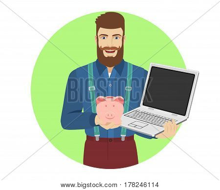 Hipster holding a piggy bank and laptop notebook. Portrait of hipster in a flat style. Vector illustration.