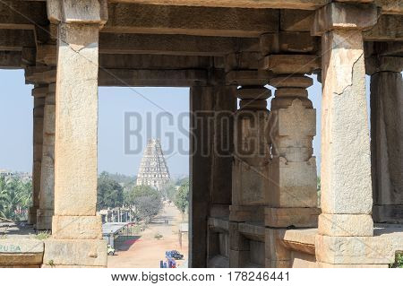 Hampi, India - 13 January 2015: View of Shiva-Virupaksha Temple located in the ruins of ancient city Vijayanagar at Hampi India