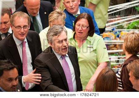 TELFORD, UK - MAY 4: Prime Minister Gordon Brown & David Wright meet staff in ASDA Donnington Wood supermarket - May 4, 2010 in Telford, UK - General elections in the UK will be held on May 6th.