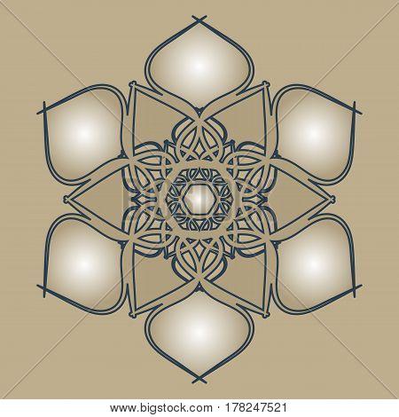 Flourish tiled floral geometric seamless pattern. Abstract oriental background. Wonderland ornament motives of the paintings of arabic mandala. Aribic fabric pattern.