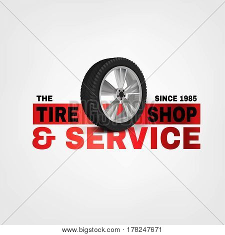 Vector tire shop and service logotype with a car wheel. Beautiful realistic illustration in grey, black and red colours isolated on a white background.