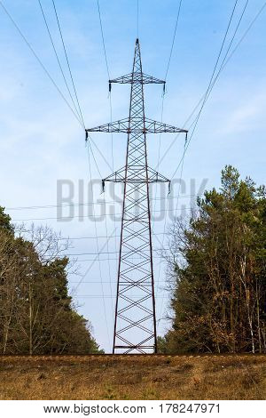 Power Line. High-voltage Lines. Electricity.