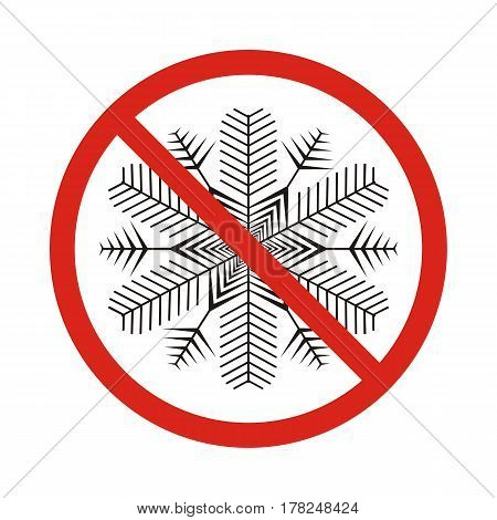 Illustration of a forbidden signal with a snow flake