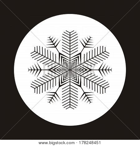Snowflake icon. Gray silhouette snow flake sign isolated on white background. Flat design. Symbol of winter frozen Christmas New Year holiday. Graphic element decoration. Vector illustration