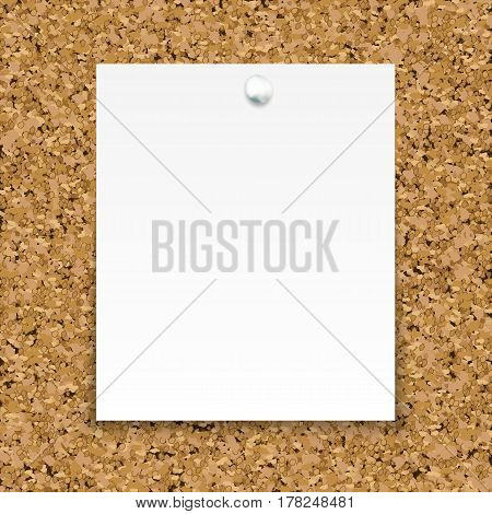 White Sticky Note Isolated On The Cork Board. Template For Your Projects.
