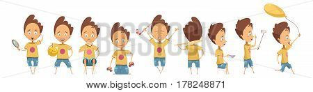 Set of different activities of boy with emotions on face and accessories cartoon style isolated vector illustration