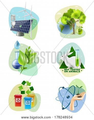 Ecology 6 icons set with clean green energy generators recycling and ban on animal testing isolated vector illustration