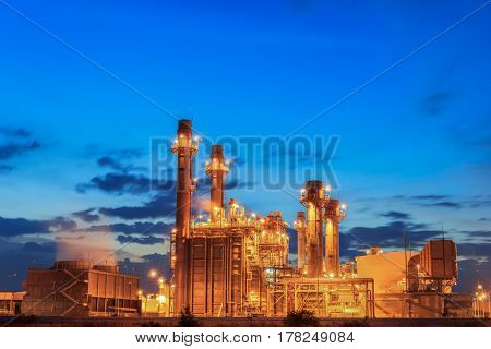 Gas turbine electric power plant with blue hour