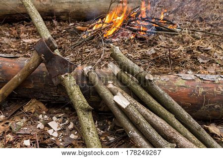 Ax And Logs On A Background Of Fire. Preparation Of Wood For The Fire.