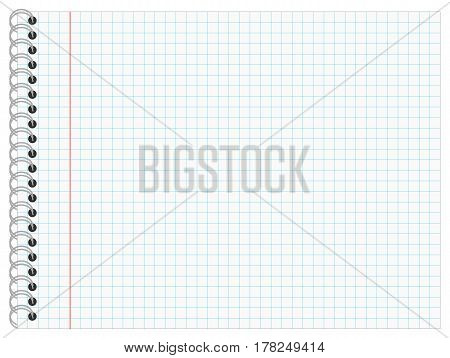 Writing Pad with checkered Lines and Ring Bond Landscape Format