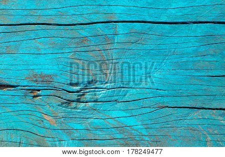 Ocean Blue Color Peeling Paint On Vintage Wood Table Background Texture .