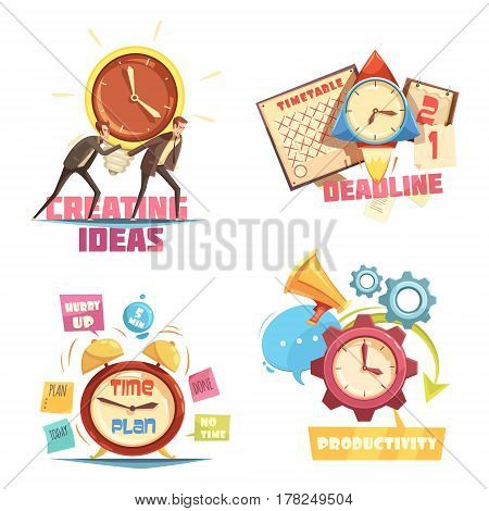 Time management retro cartoon compositions with creating ideas and deadline effective planning and productivity isolated vector illustration