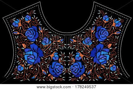 Ethnic embroidery blue rose flowers floral design for neckline. Fashion satin stitch stitches ornament on black for textile, fabric traditional folk decoration. Vector illustration stock vector.
