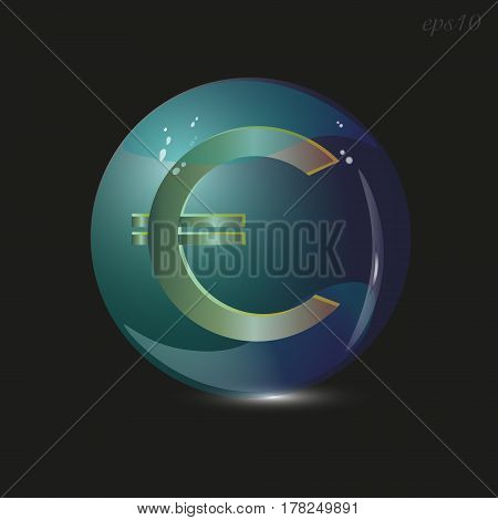 Euro sign in a glass bowl Golden currency Europe big transparent sphere flare black background blue glass shadow stock vector illustration