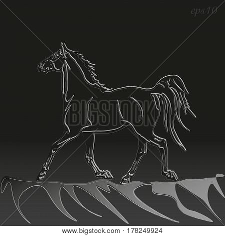 The horse is running at night Animal style graphic grunge black background mane short lush tail stock vector illustration author design