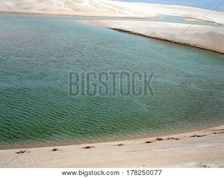 Lencois Maranhenses green water color lagoon sand