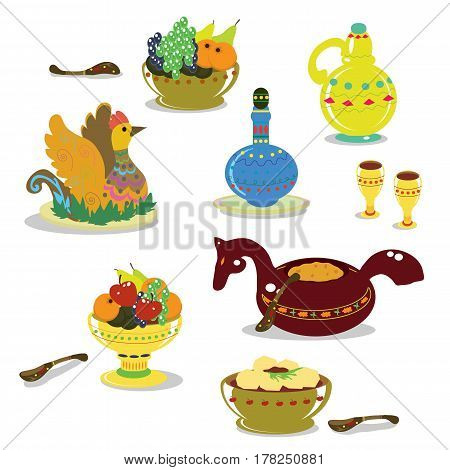 Russian festive dishes. Old traditions. National dishes. Vector illustration.