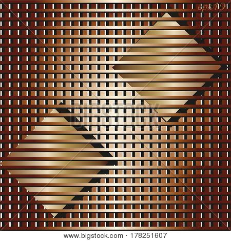 Two squares abstraction Author's design background cage print sign board postcard style loft parallel line color copper flowing stock vector illustration