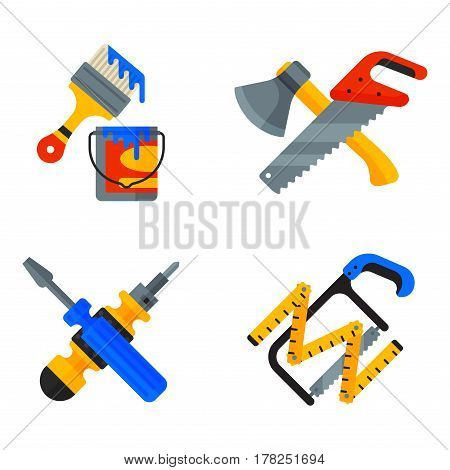Home repair tools icons working construction equipment set and service worker macter box flat style isolated on white background vector illustration. Fix instrument accessories.