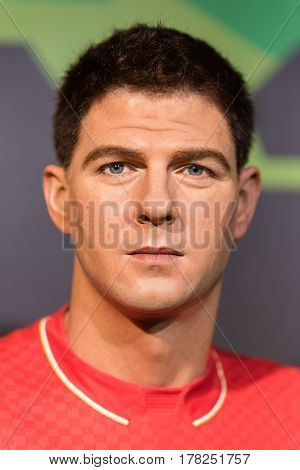 BANGKOK-JAN29:A waxwork of Steven George Gerrard on display at Madame Tussauds on January 29, 2016 in Bangkok, Thailand. Madame Tussauds' newest branch hosts waxworks of numerous stars and celebrities