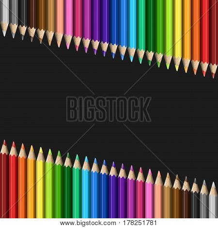 Sloping Lines of Realistic Colorful Pencils on Black Background. Texture of Colored Pencils for Business Presentation Publications Blank Template Cover.