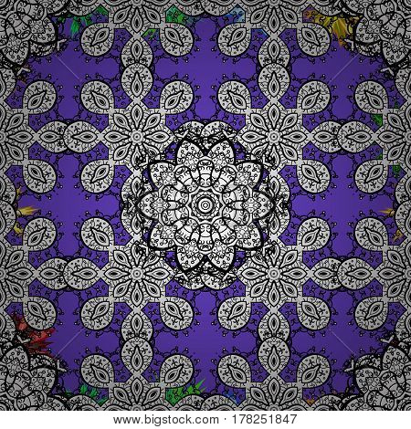 Violet seamless pattern. Abstract geometric floral seamless background. Tribal ethnic ornate decoration lace repeating texture. Vector doodle sketch pattern graphic illustration. Violet background.