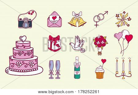 Wedding couple relationship marriage nuptial icons design ceremony celebration and holliday folk icons beauty hand drawn vector illustration. Cheerful fashion groom and bride symbols.