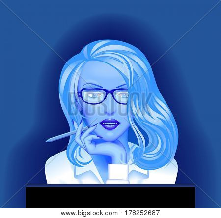 Blonde business woman in glasses in front of the computer monitor in blue light