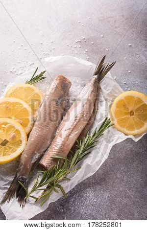 Freshly salted herring with salt, lemon ans rosemary on gray background. Traditional Dutch delicacy. Retro style toned.